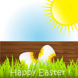 Easter eggs. On a wood background Royalty Free Stock Image