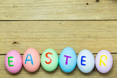 Easter eggs on wood background. Easter eggs on bbrown wood background Royalty Free Stock Photography