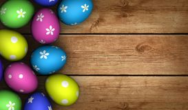 Easter Eggs Wood Background Stock Photography