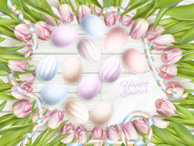 Easter eggs on wood background. EPS 10 Stock Photography
