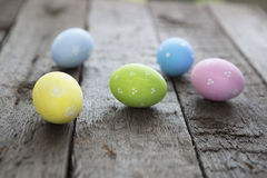 Easter eggs on wood background Royalty Free Stock Image