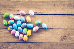Easter eggs on wood background Stock Photos
