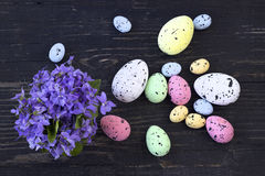 Easter eggs on wood background Stock Images