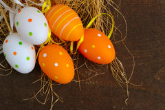 Easter Eggs On Wood Background Stock Image