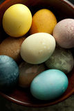 Easter Eggs in wood bowl Royalty Free Stock Photography