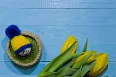 Easter eggs on wood. Emoticons in knitted hat with pom-poms. A b Stock Photo