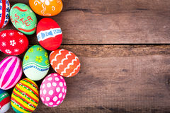 Easter eggs on wood floor Royalty Free Stock Images
