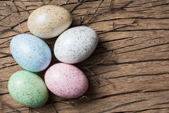 Easter eggs on wood Royalty Free Stock Photo