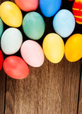 Easter eggs on wood table background Stock Photography