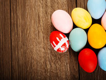 Easter eggs on wood table background Royalty Free Stock Photos