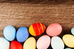 Easter eggs on wood table background Royalty Free Stock Images