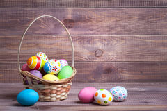 Easter eggs on wood Royalty Free Stock Photography