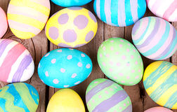 Easter eggs on a wooden background Stock Photo
