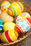 Easter eggs on wooden royalty free stock photo