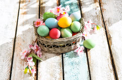 Easter eggs wooden background Colorful decoration flowers. Easter eggs on wooden background. Colorful decoration with flowers on sunny day Royalty Free Stock Image