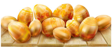 Easter eggs on a wooden background Royalty Free Stock Photography