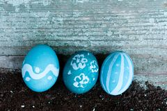 Easter eggs on wooden background. Egg spring tradition holiday colorful blue decoration celebration isolated color white painted food seasonal symbol season royalty free stock images