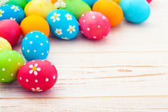 Easter eggs on wooden background Royalty Free Stock Image