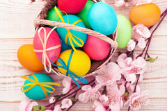 Easter eggs on wooden background Royalty Free Stock Images