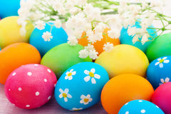 Easter eggs on wooden background Royalty Free Stock Photos