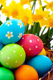 Easter eggs on wooden background Stock Images
