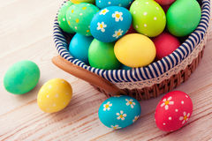 Easter eggs on wooden background Stock Photo