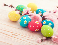 Easter eggs on wooden background Stock Photography