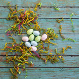 Easter eggs with wooden background Royalty Free Stock Photography
