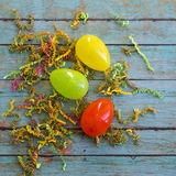 Easter eggs with wooden background Royalty Free Stock Photos