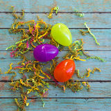 Easter eggs with wooden background Stock Images