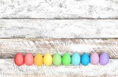 Easter eggs wooden background Holidays decoration Stock Photography