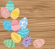 Easter eggs on wooden background. Illustration vector illustration