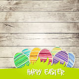 Easter eggs on wooden background  vector Stock Photo