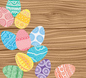 Easter eggs on wooden background. Vector illustration vector illustration