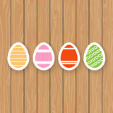 Easter eggs on a wooden background. Stock Images