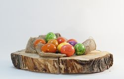 Easter eggs wooden block Stock Photography