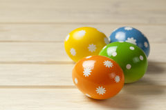 Easter eggs on wooden boards Stock Image