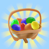 Easter eggs in wooden bow Stock Photos