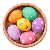 Easter eggs in wooden bowl Stock Photography