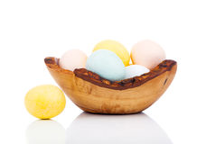 Easter eggs in wooden bowl Stock Image