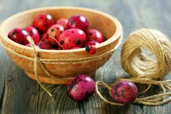 Easter eggs in wooden bowl. Royalty Free Stock Photo