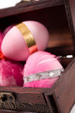 Easter eggs in a wooden box Stock Photos