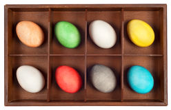 Easter Eggs in wooden box Stock Image