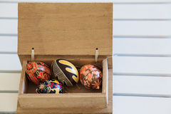 Easter eggs. In a wooden box Stock Photos