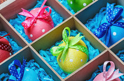 Easter eggs in a wooden box Stock Photography