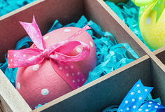 Easter eggs in a wooden box Stock Photo