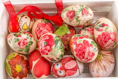 Easter eggs in a wooden box Royalty Free Stock Images