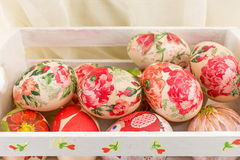 Easter eggs in a wooden box Royalty Free Stock Photography