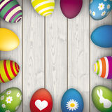 Easter Eggs Wooden Centre Royalty Free Stock Photography