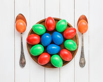 Easter eggs on wooden dish Stock Images
